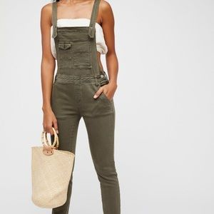 Free People Green Denim Fitted Overalls 💚